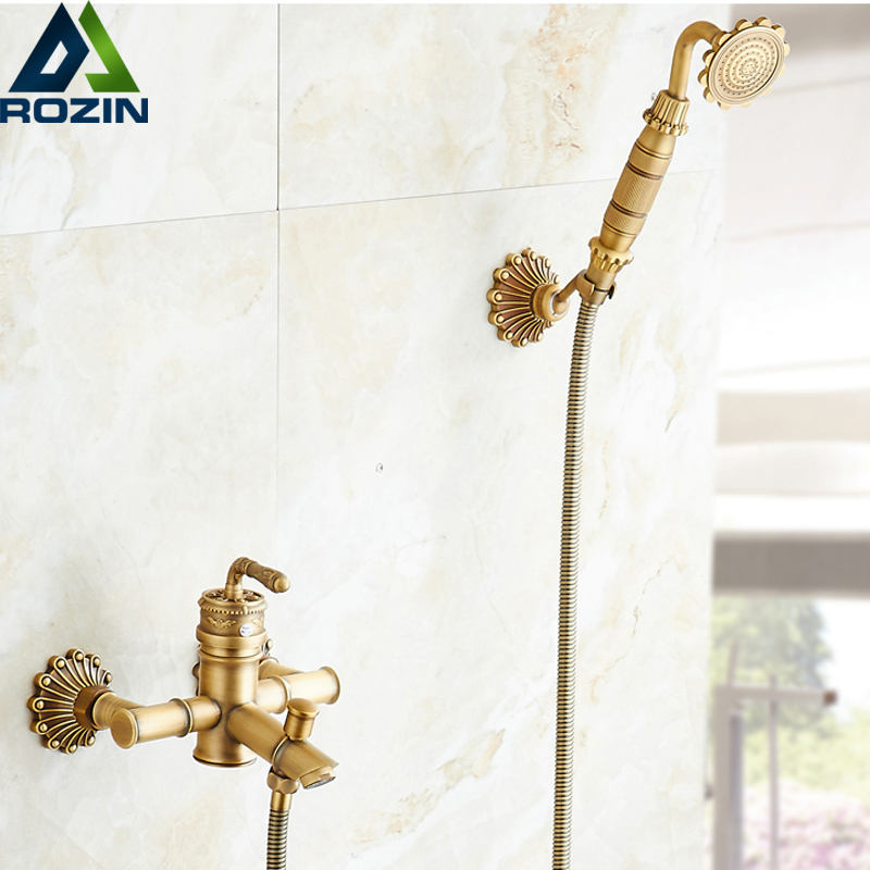 ᐂEuropean Style Artistic Carved Shower Set Wall Mounted Handheld ...