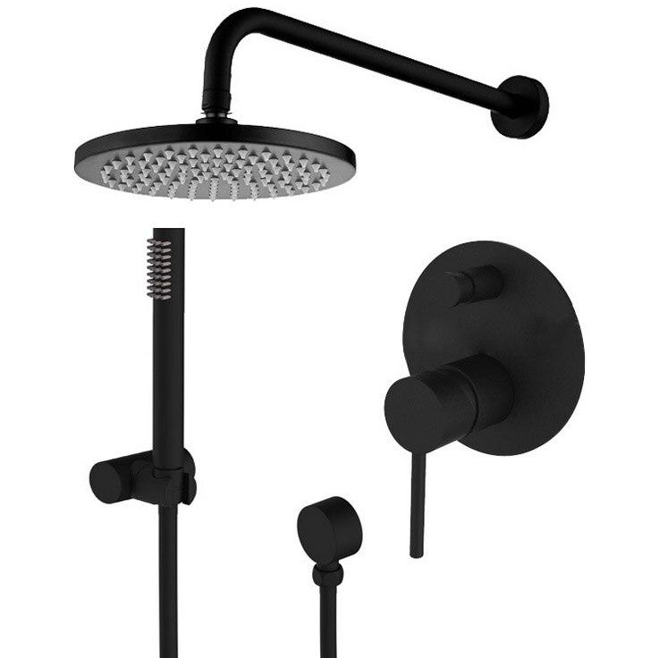 Brass Black Shower Set Bathroom Faucet Wall Shower Arm Diverter Mixer Handheld Spray Set With 10
