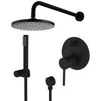 Латунь черный набор для душа Ванная комната кран стены душ рука переключателем Миксер ручной набор спрей с 8 Риан Насадки для душа IS799