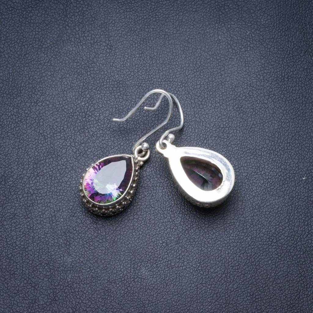 цена Natural Mystical Topaz Handmade Unique 925 Sterling Silver Earrings 1.25