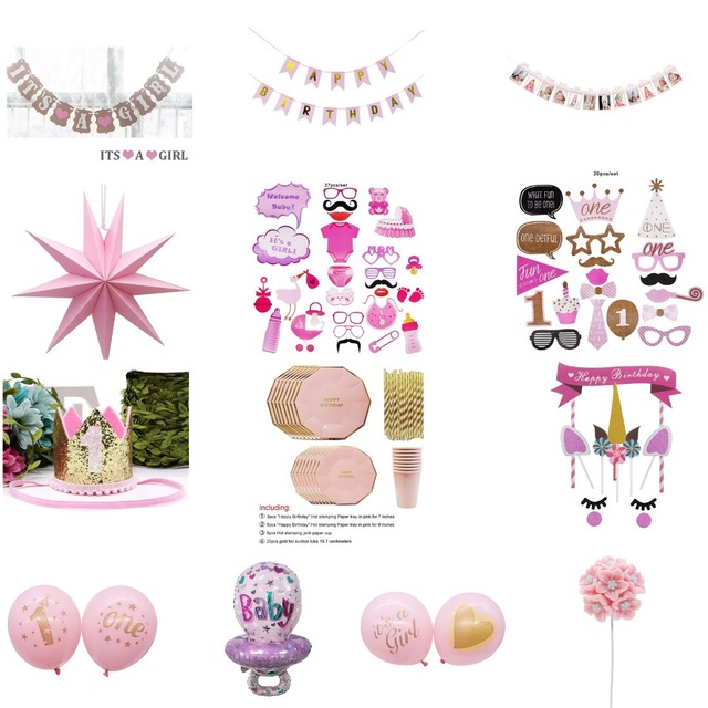 1st Birthday Party Decorations Girl Pink Gift Banner Table Skirt Balloons One Year Old Baby Shower Supply