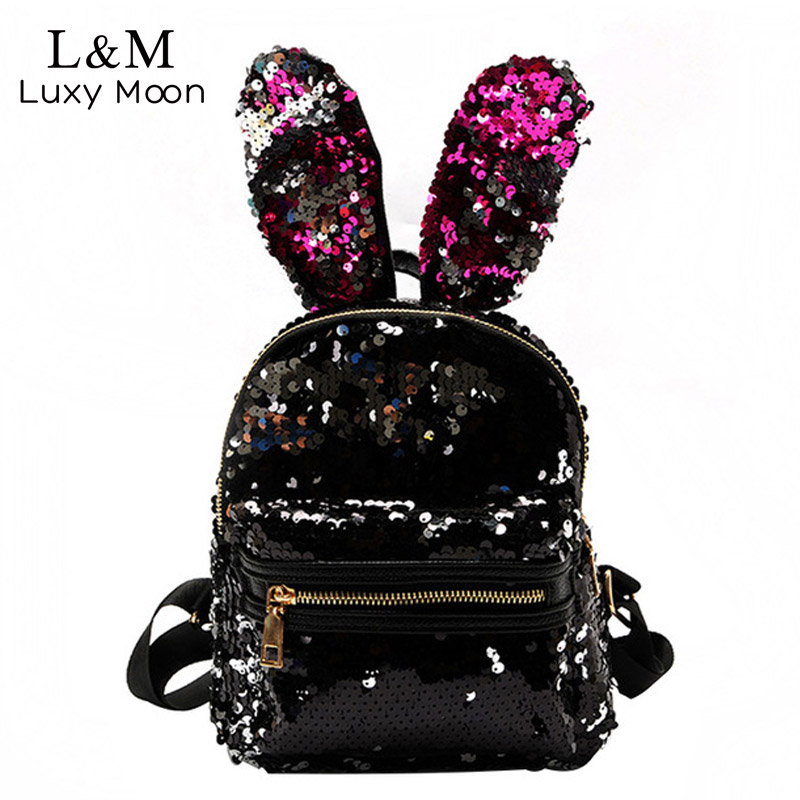 Glitter Women Small Backpack Silver Sequin Day Pack 2018 Cool ...