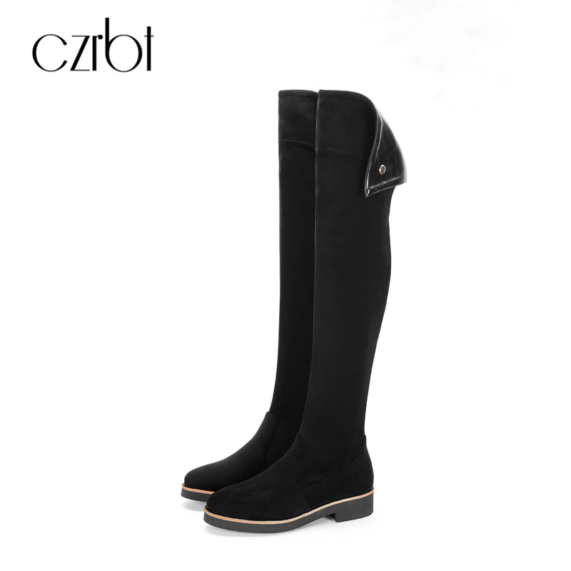 CZRBT High Quality Stretch Lycra Over The Knee Boots Women Fashion Wedges Heel Boots Black Platform Shoes Ladies High Boots slip on winter boots stretch lycra
