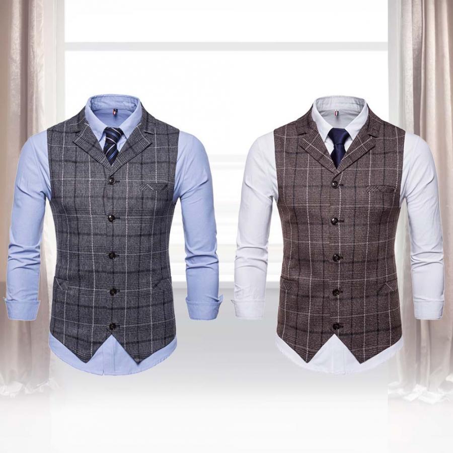 Suit Vest Dress Waistcoats Plaid-Pattern Formal Single-Breasted Sleeveless Fashion Men