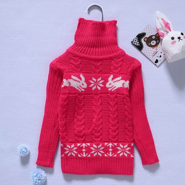 03ad0a833 Baby Girl Knit Sweater Girls High necked Stretch Sweater Rabbit ...