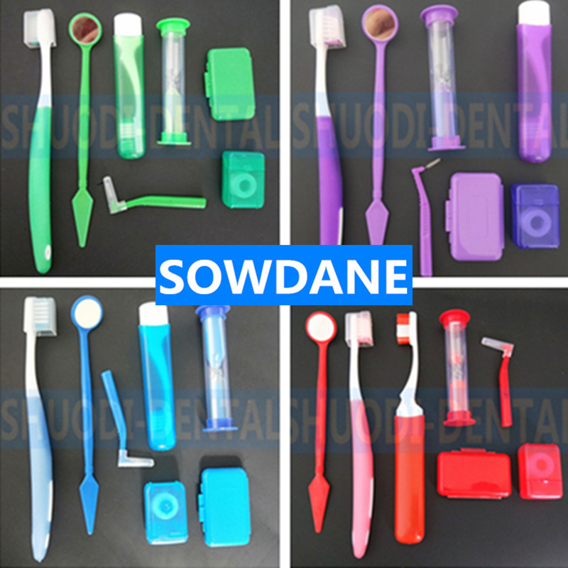 7 Pcs/Set Dental Teeth Orthodontic Kits Oral Cleaning Care Interdental Brush Floss Thread Wax Mouth Mirror Whitening Tool Random