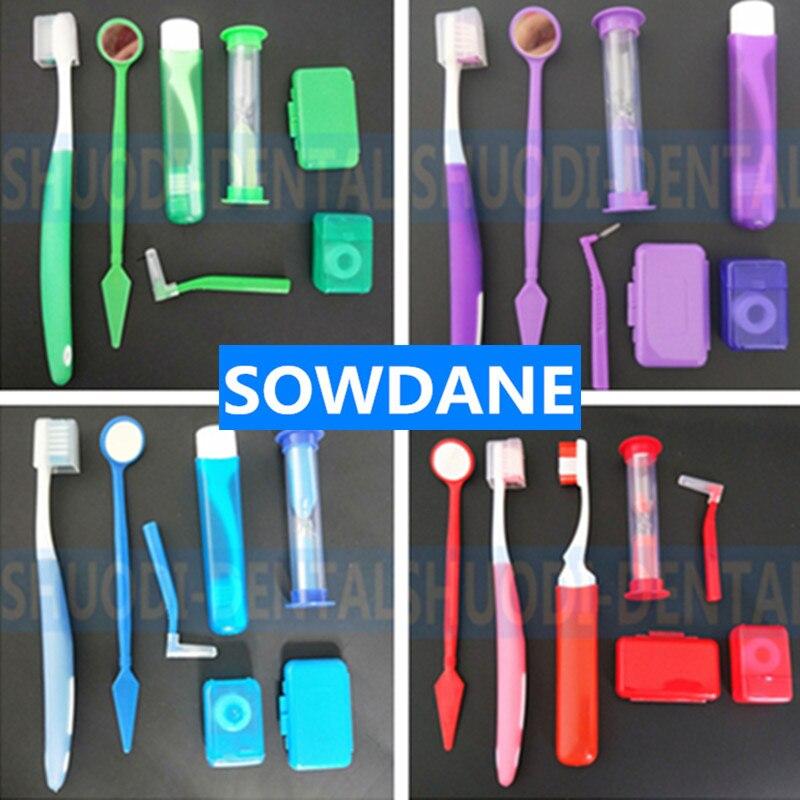 7 Pcs/Set Dental Teeth Orthodontic Kits Oral Cleaning Care Interdental Brush Floss Thread Wax Mouth Mirror Whitening Tool Random
