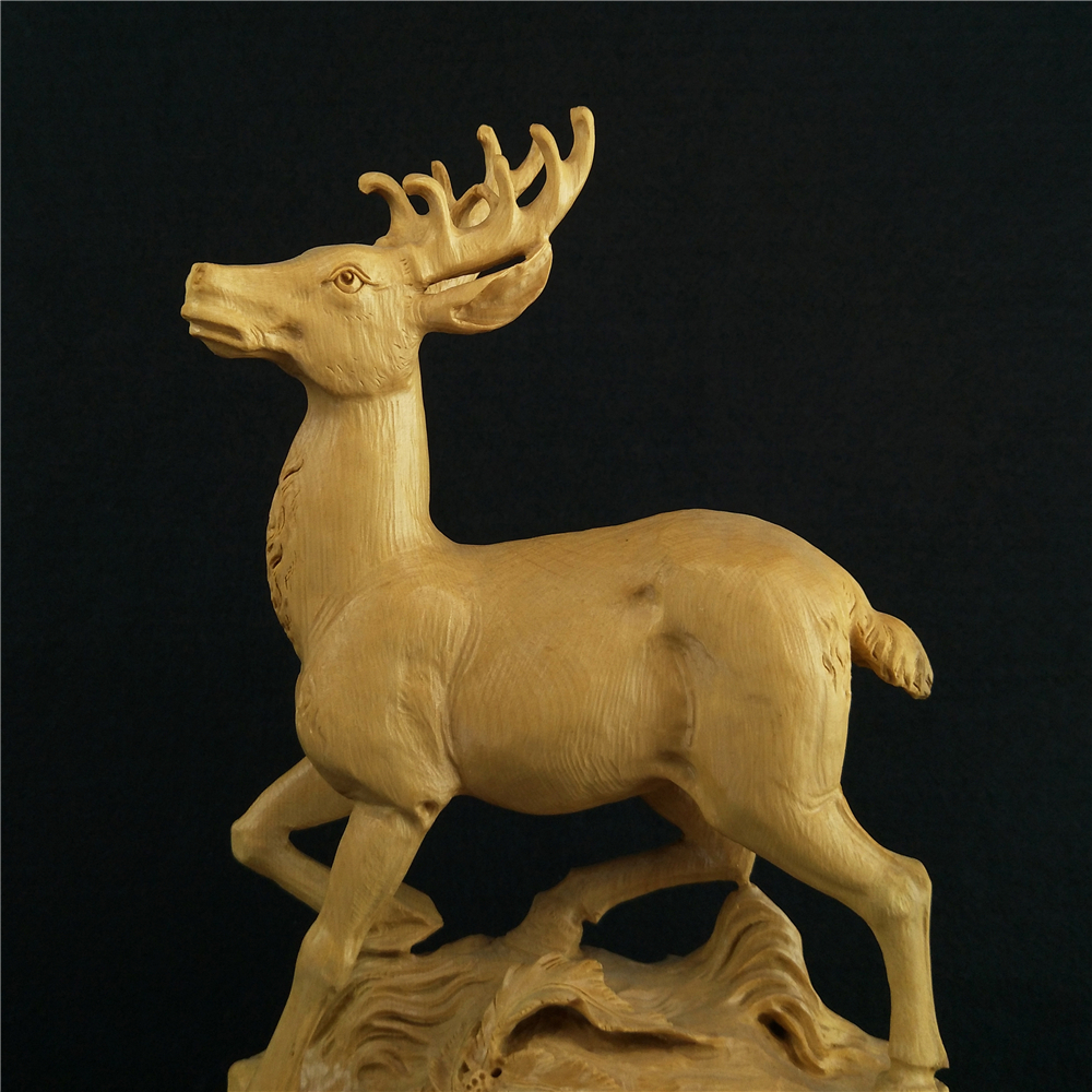 Boxwood carvings Exquisite sculpture animal elk Office Supplies Root ...