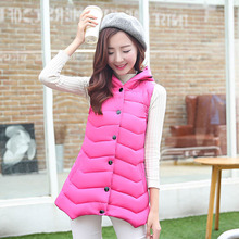 Free shipping 2015 new winter cotton vest female coat long vest slim Hooded Coat girl keep warm plus size causal loose overcoat