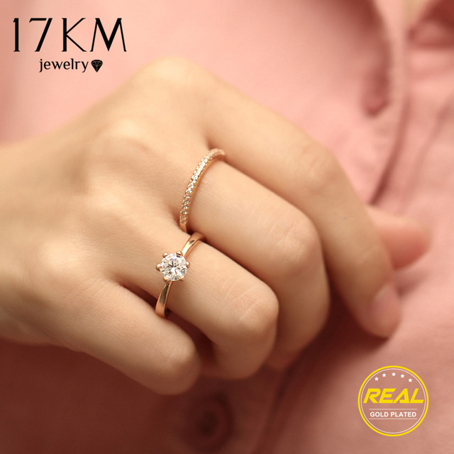 17KM Fashion Wedding Double Ring Set For Women Cubic Zirconia Female Anillos Muj