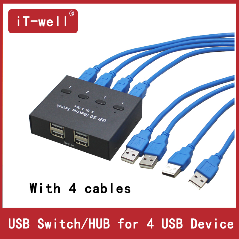 iT wel USB HUB Manual Sharing Switch 4 in 4 out Keyboard and mouse sharing switch Printer sharing for Computer