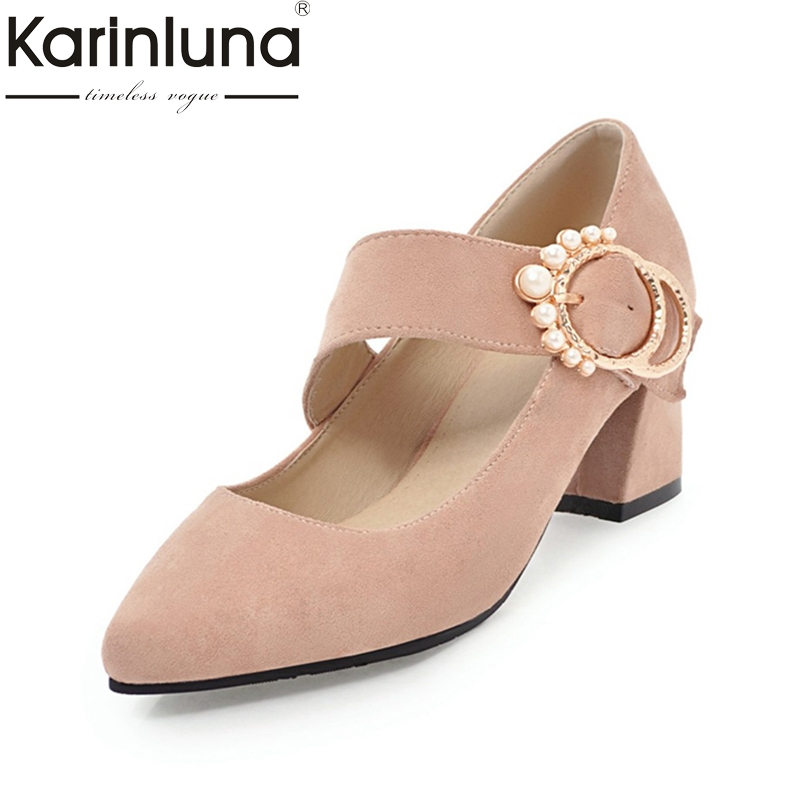 KarinLuna High Quality Large Size 32-46 Pointed Toe Buckle Strap Square High Heels Black Shoes Woman Shoes Party Wedding Pumps pu pointed toe flats with eyelet strap