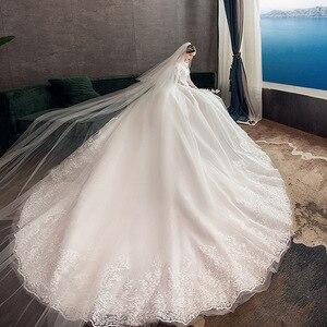 Image 4 - 2021 חדש Vintage O צוואר מלא שרוול שמלות כלה אשליה פשוט תחרה רקמה תפור לפי מידה כלה שמלת Vestido דה Noiva L