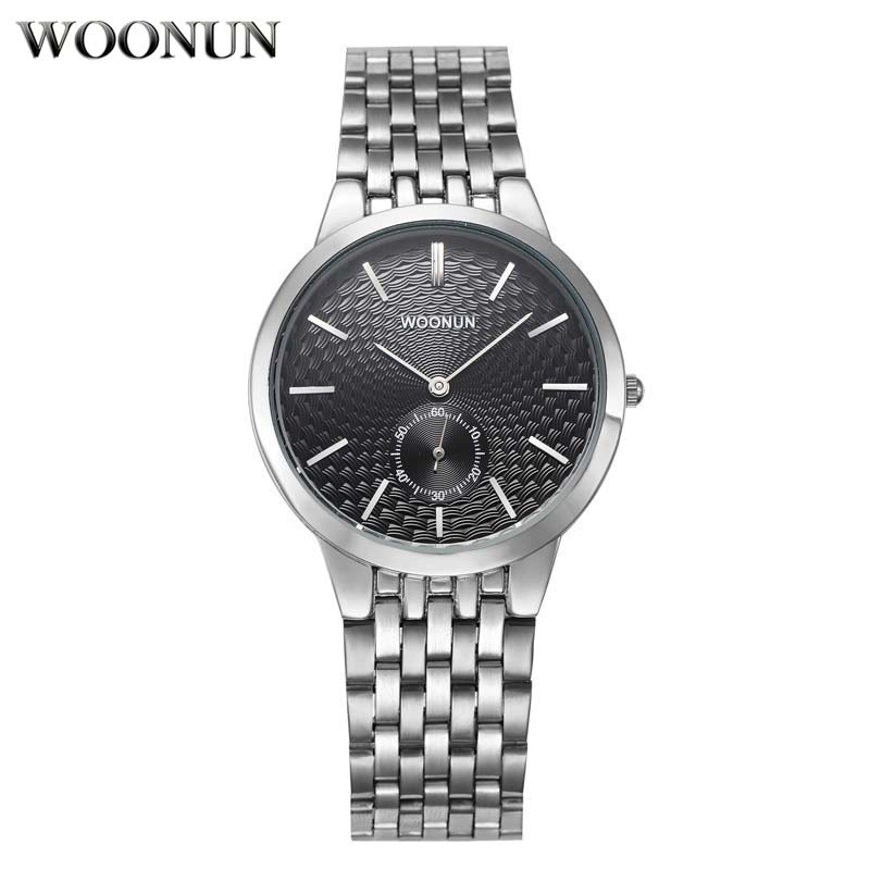 Most Popular Men Brand Luxury Watches WOONUN Silver Steel Band Small Seconds Quartz Watch Business Casual Thin Mens Watches