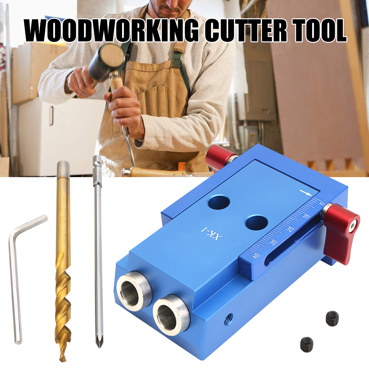 цена на Aluminum Alloy Pocke t Hole Jig Kit With Step Drill Bit Woodworking Cutter Tool 9.5mm Collar Manual Wood Drilling Hole Saw