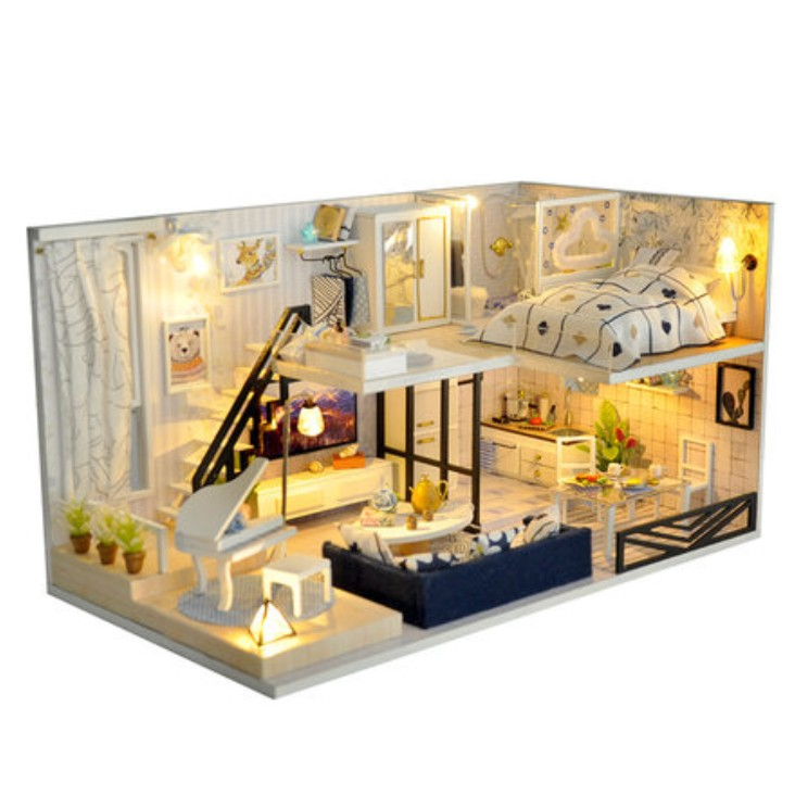 DIY Doll House Wooden Doll Houses Miniature dollhouse Furniture Kit Toys for children Christmas Gift DH041 сумка wooden houses w287 2014