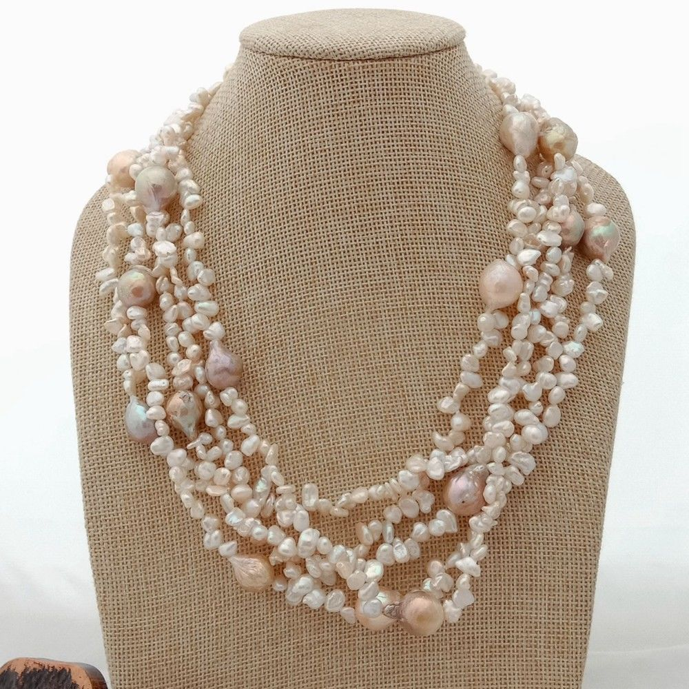 20 5 Rows White Purple Keshi Pearl Necklace20 5 Rows White Purple Keshi Pearl Necklace