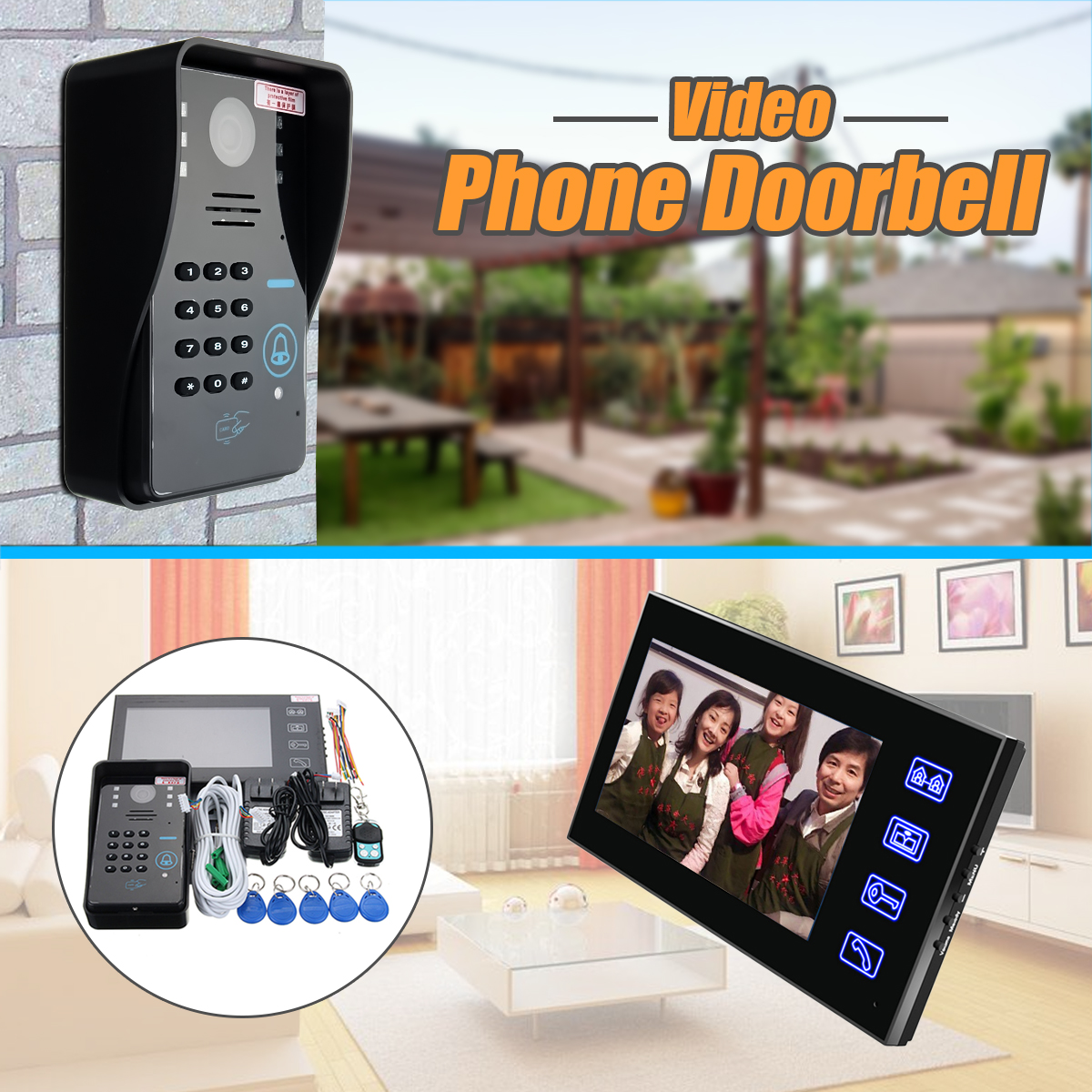 Safurance 7 LCD RFID Video Door Bell Phone Doorbell Intercom System Touch Key IR Camera Home Security Building Automation