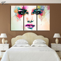 3 Piece Canvas Picture Watercolor Paintings Color Woman Face Art Wall Painting Ideas For Living Room