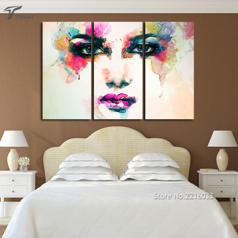 Aliexpresscom  Buy 3 Piece Canvas Picture Watercolor Paintings Color Woman Face Art Wall
