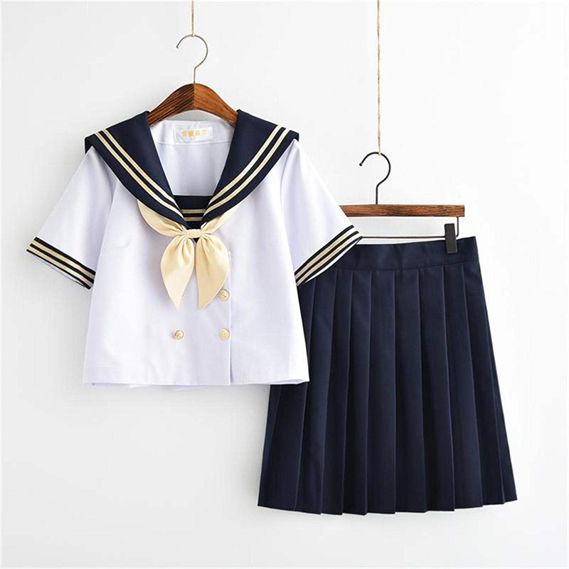 New Arrival White Japan School Uniform Short/Long Cute High School Uniforms Women Novelty Girls Sailor Suits Uniforms XXL