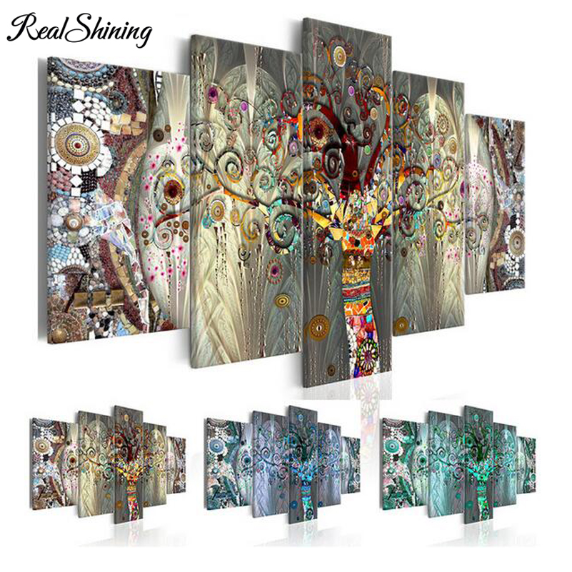REALSHINING triptych diy 5d diamond painting Abstract Trees diamond full square mosaic cross stitch diamond embroidery