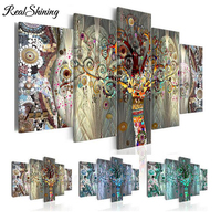 REALSHINING triptych diy 5d diamond painting Abstract Trees diamond full square mosaic cross stitch diamond embroidery FS2389