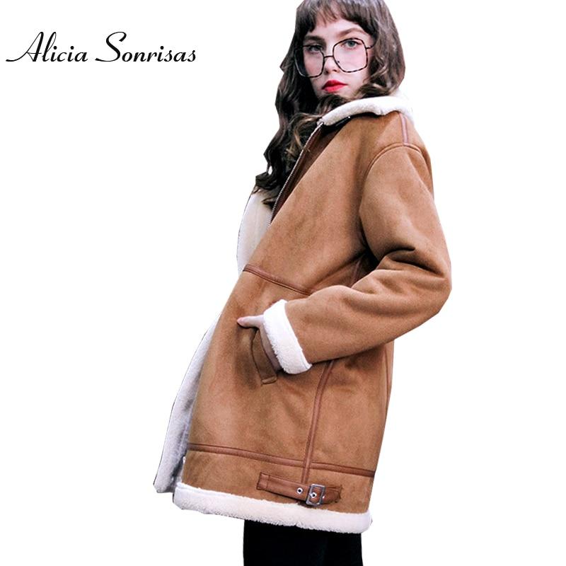 Winter Brown Faux Sheepskin Coat Women New 2017 Winter Warm   Suede   Long Warm Cashmere Thick Coats AS3723