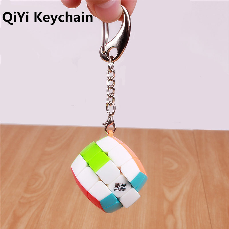 Qiyi 3cm Mini 3x3x3 Speed Keychain Magic Cube  Sticker Less Twist Puzzle Cube Toy Gift Smart Key Ring Bag Decoration Cute