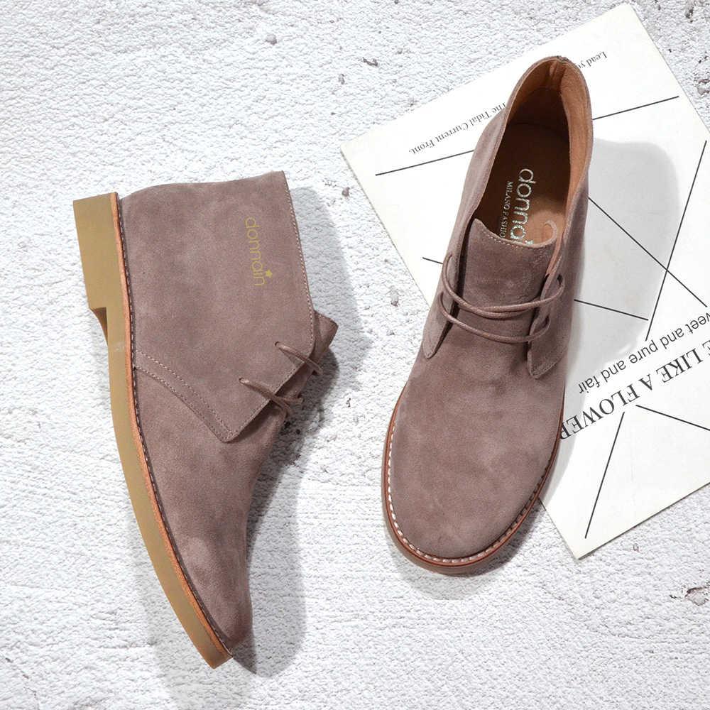 Donna-in moda Martin çizmeler kadın yetişkin sonbahar bahar 2020 yarım çizmeler süet deri bağcıklı rahat düşük topuk ayakkabı kadın