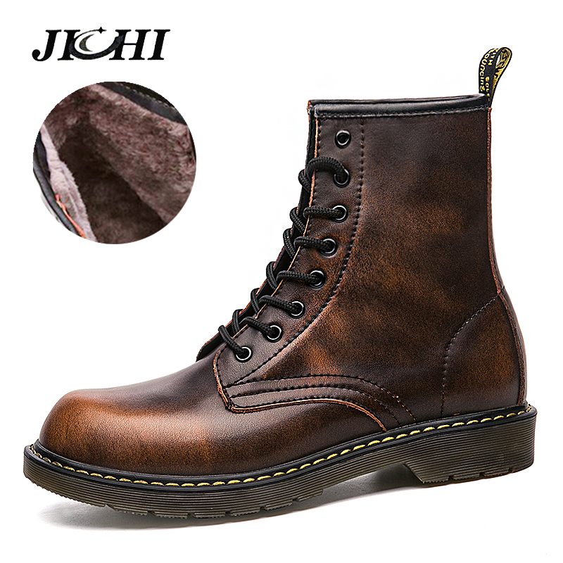 Men's Fashion Martin Boots Winter Casual Ankle Boots Mens Retro Snow Boots Male With Warm Fur Big Size 38-47 Men Mid-Calf Boots цена
