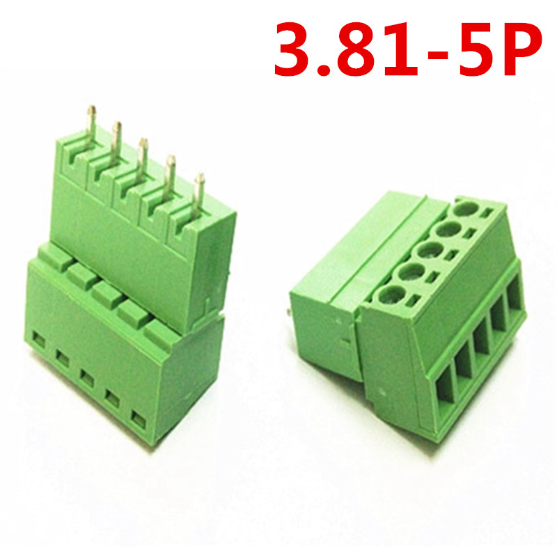 10sets 5 Pin Terminal plug Type 300V 10A 3.81mm pitch pcb Electrical Green screw terminal block connector pin header and socket