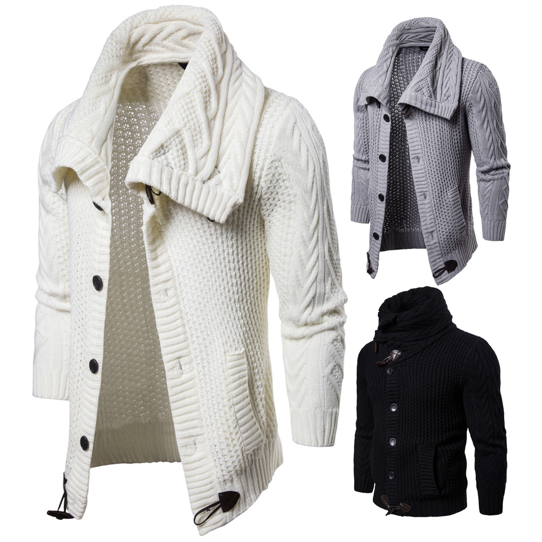 YM019 Autumn Men's Clothing New Young Men's Overcoat Pure Color Knitted Cardigan Sweater Jacket