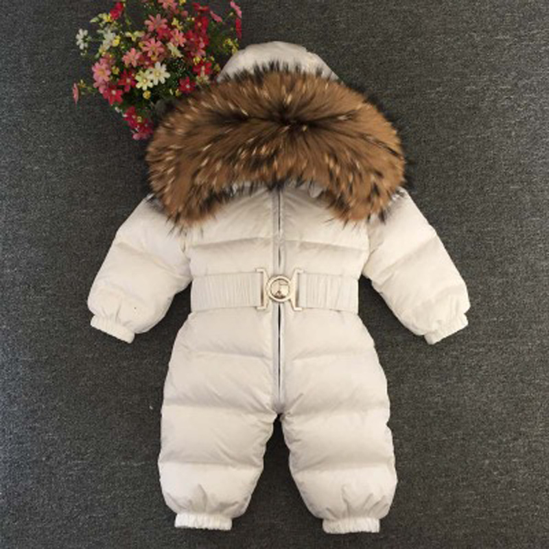 Baby Jumpsuits Boys Girls Winter Overalls Rompers Duck Down Jumpsuit Natural Fur Collar Coats Children Outerwear Kids Snowsuit buenos ninos thick winter children jackets girls boys coats hooded raccoon fur collar kids outerwear duck down padded snowsuit