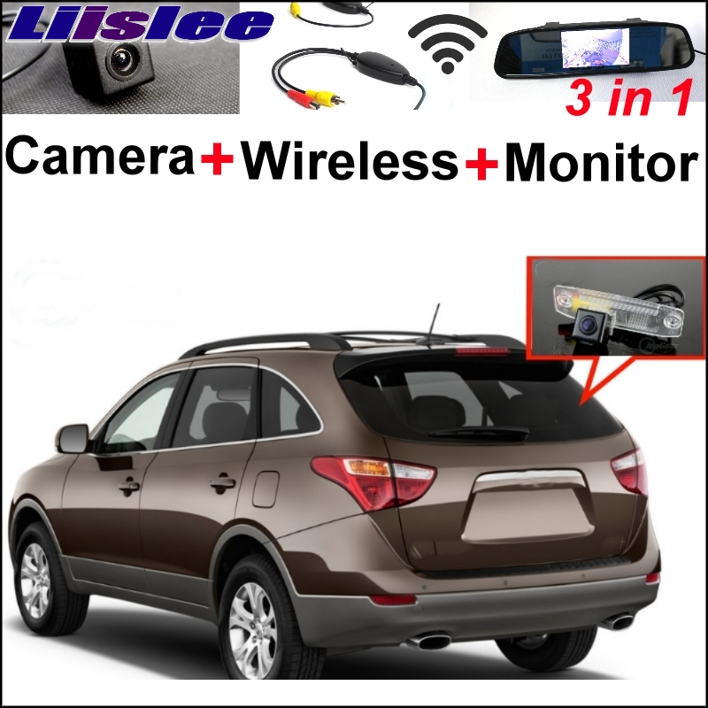 Liislee 3 in1 Special Rear View Camera + Wireless Receiver + Mirror Monitor Easy Backup Parking System For Hyundai Veracruz ix55 3 in1 special rear view camera wireless receiver mirror monitor easy diy backup parking system for jeep liberty 2002 2007