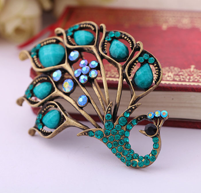 H:HYDE Elegant Green Crystal Natural Stone Peacock Brooch Pin Fine Jewelry For Women Gift