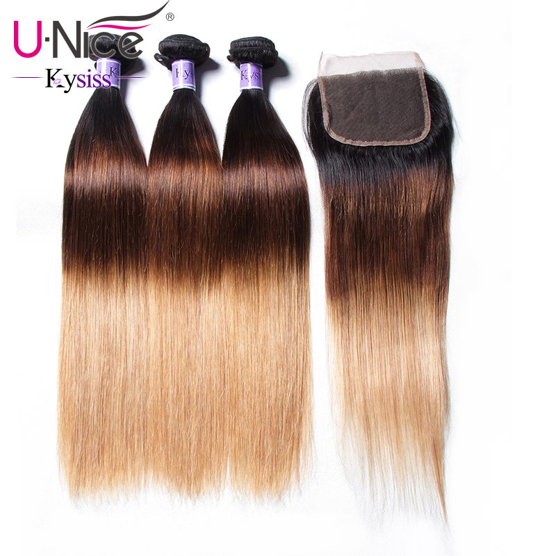 UNice Hair Kysiss Virgin Series T1B 4 27 Peruvian Straight Hair Ombre 3 Bundles With Closure
