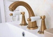 Bathroom Basin Faucet Antique Brass Bathroom Basin Mixer Tap Sink Faucet Double Handles 3 Hole Bathroom Basin Faucet zan091 high quality round 3 hole wall sink basin mixer tap wels bathroom spout faucet with double lever