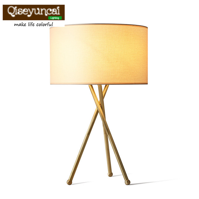 Qiseyuncai 2018 American Living Room Full Copper Table Lamp Creative Desk Simple Personality Study Bedroom Bedside