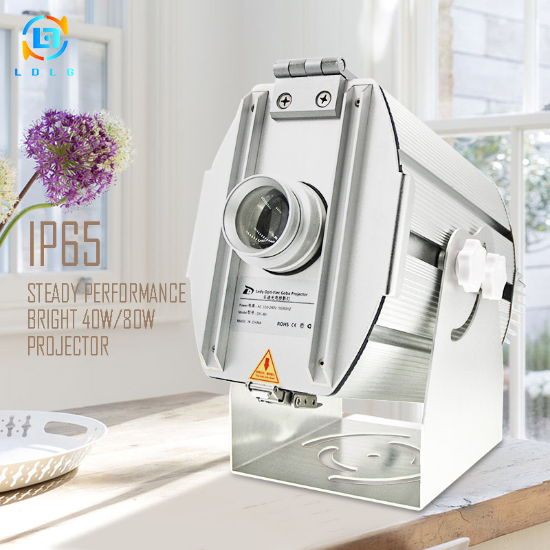 Aluminum Alloy Silver Outdoor Advertising Four Six Images 40W 80W LED Gobo Projector IP65 10000Lumens LED Images Logo Projectors images