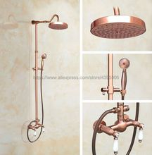 Antique Red Copper Bathroom Shower Faucet Bath Faucet Mixer Tap With Hand Shower Head Set Wall Mounted Brg615