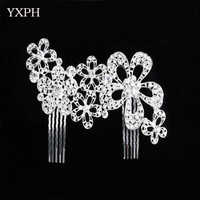 YXPH Crystal Combs Woman Hairwear Wedding Jewelry Girls Special Flowers Bloom Haircomb Rhinestone Alloy Trendy Accessories