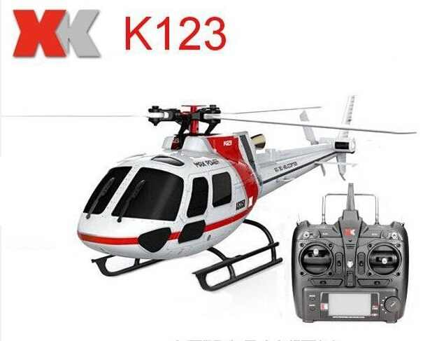 (Met 2 Batterijen) Originele XK K123 6CH Borstelloze AS350 Schaal 3D6G System RC Helicopter RTF Upgrade WLtoys V931