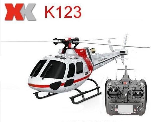Original XK K123 6CH Brushless Escala AS350 3D6G Sistema RC Helicopter RTF Atualize WLtoys V931