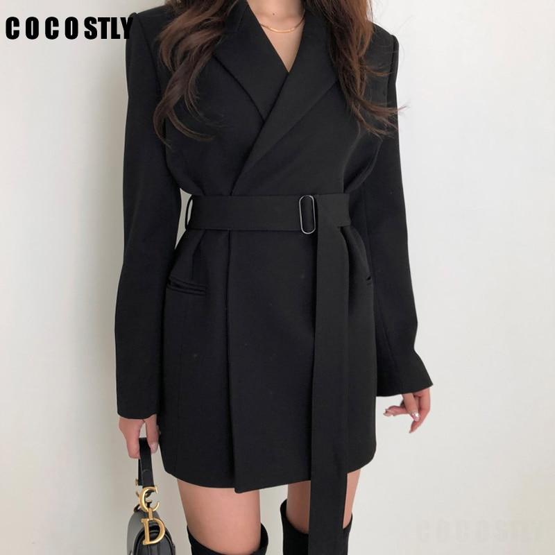 2019 New Korean Blazer Autumn Slim With Belt Blazer Women Casual Long Blazer Women Chaqueta Mujer Bleiser Feminino