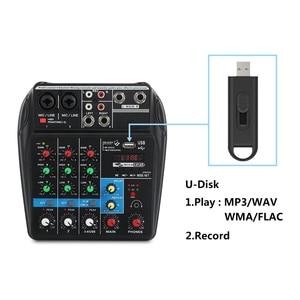 Image 4 - A4 4 ערוצים אודיו מיקסר קול ערבוב קונסולה עם Bluetooth USB שיא 48V פנטום כוח צג נתיבים בתוספת אפקטים