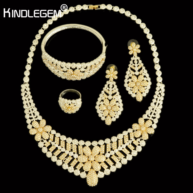 2018 High Fashion Silver Gold Color African CZ Zircon Big Necklace Wedding Bridal Costume Jewelry Sets