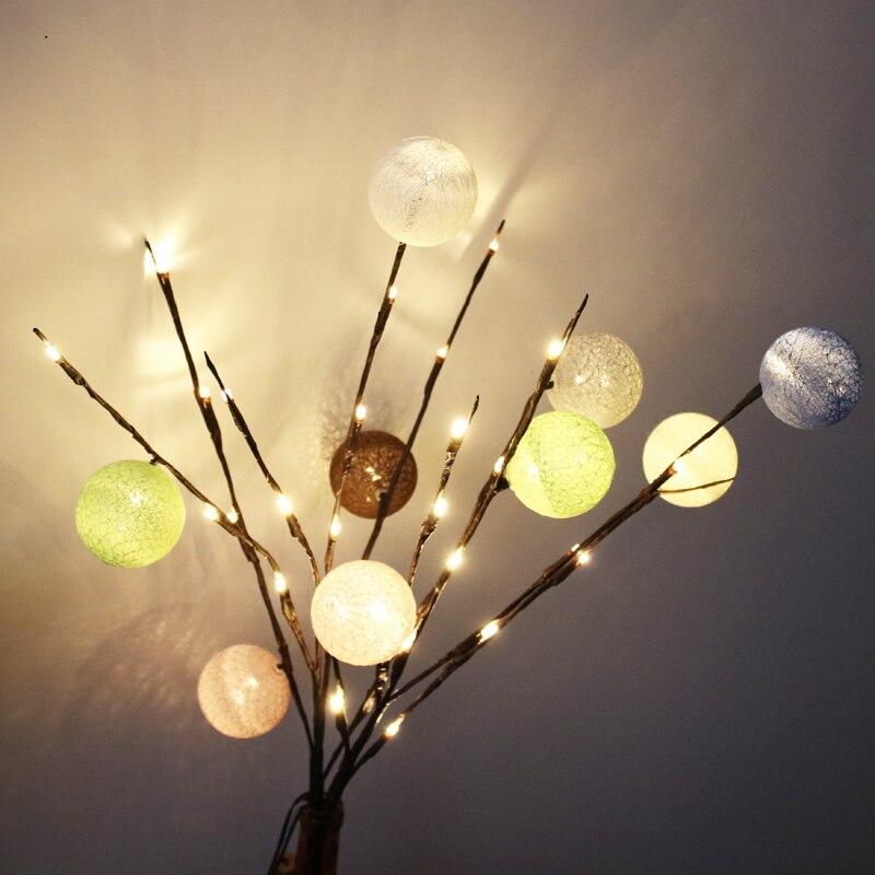 Diy Tree Branches Lamp 20 Led Night Light Office Vase Lighting Home
