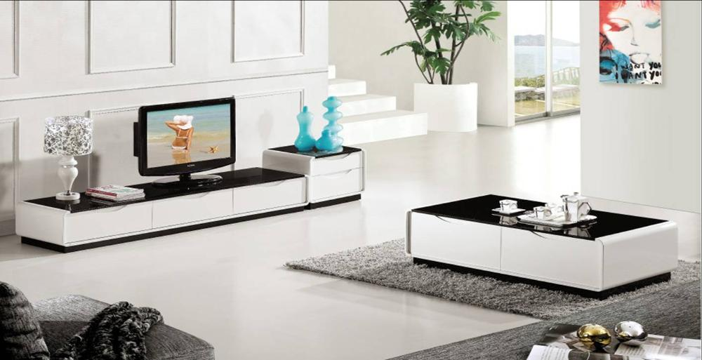 Drawer + Table + TV Cabinet Set, Smart Piano Paint Wood Furniture, Classic  Black And White Duration Home Set YQ122A