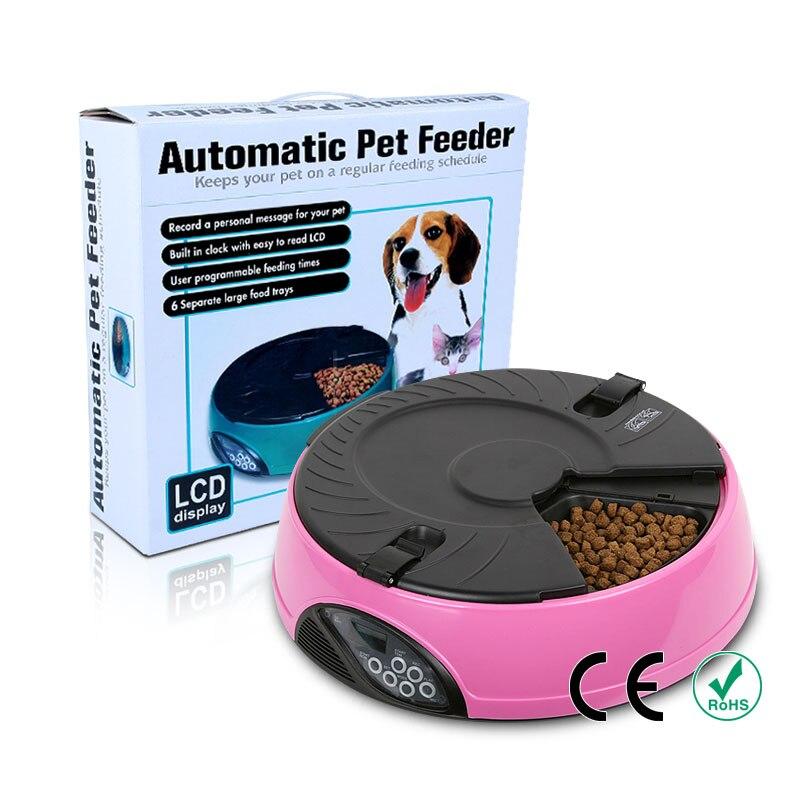 6 posiłków automatyczny podajnik karmy dla zwierząt domowych Pet Cat Dog automatyczne podajniki karmy dla psów karmienie taca wyświetlacz LCD dla psów Dog automatyczne podajniki w Karmienie psów od Dom i ogród na  Grupa 1